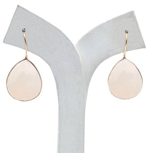 The Sparkle Story White Chalcedony Gold Plated Hook Earring (DWCER-90010)