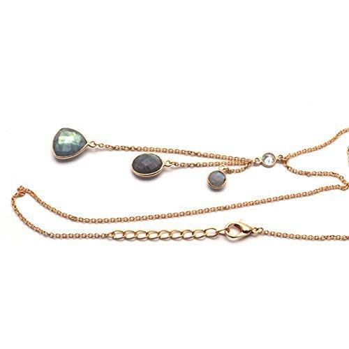 The Sparkle Story Labradorite Bezel Gold Plated Necklace Chain (DNC-16013)