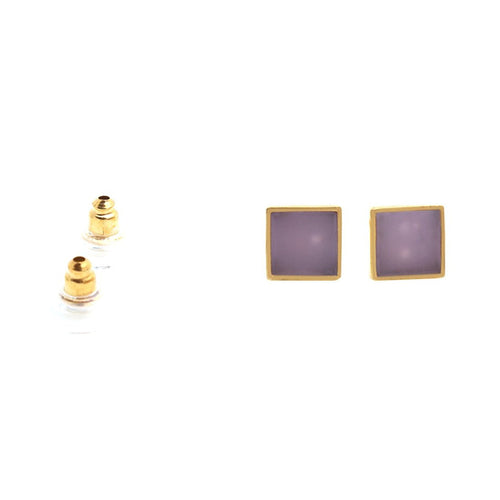 The Sparkle Story Rose Chalcedony Rectangle Shape Gold Plated Fashionable Stud & Earring (DRC-90022)
