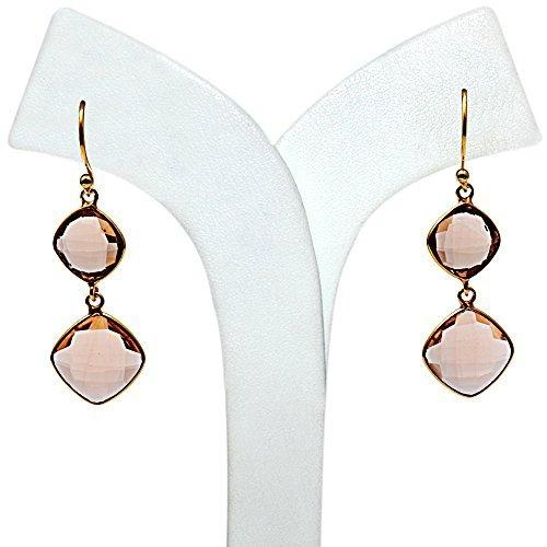 The Sparkle Story Morganite Dangle Cushion Shape Gold Earring (DMOER-90241)