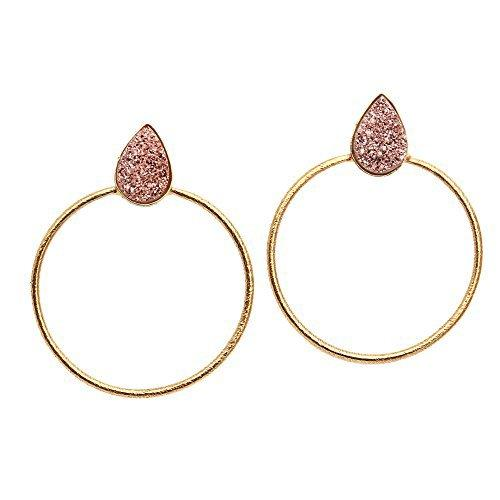 The Sparkle Story Rose Gold Color Druzy Earring Gold Plated Pears Shape Hoop Earring (DRZER-90157)
