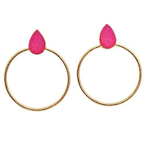 The Sparkle Story Pink Colored Druzy Pears Shape Hoop Earring Gold Plated (DPCER-90157)