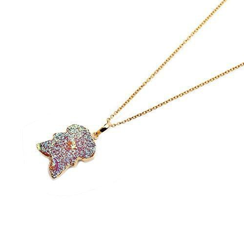 The Sparkle Story Titanium Druzy Gold Plated Necklace Pendant With 18