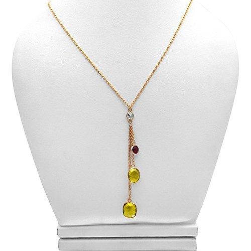 The Sparkle Story Lemon Topaz with Red Hydro Garnet Bezel Gold Plated Necklace Chain (DNC-16038)