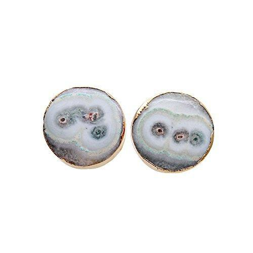 The Sparkle Story Agate Slice Druzy Stud Gold Plated Round Shape Stud & Earring (DDS-90019)