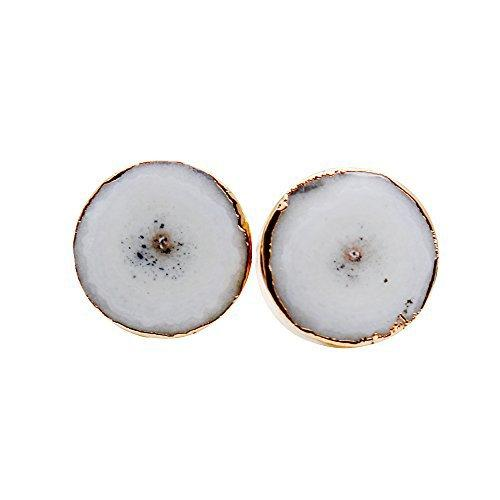 The Sparkle Story Agate Slice Druzy Stud Gold Plated Round Shape Stud & Earring (DDS-90027)