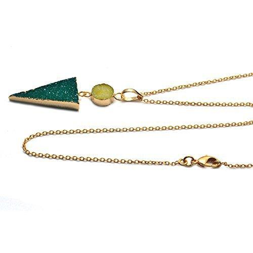 The Sparkle Story Green Druzy Gold Electroplated Beautiful Trendy Necklace Pendant With Chain