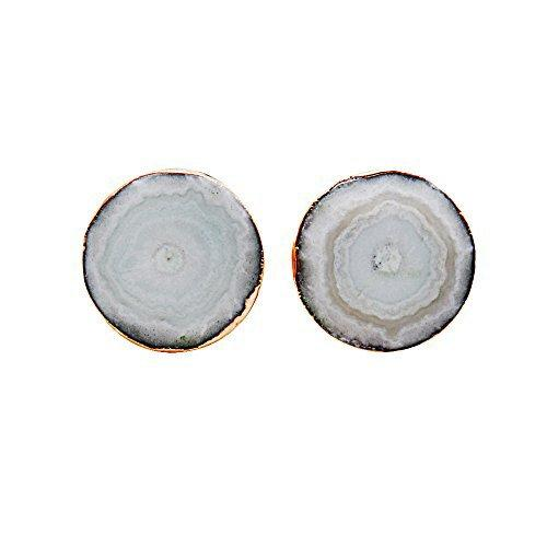 The Sparkle Story Agate Slice Druzy Stud Gold Plated Round Shape Stud & Earring (DDS-90001)