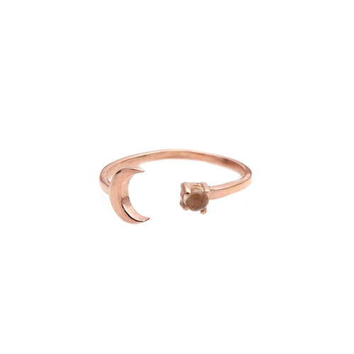 Citrine 3mm With Moon Charm Rose Gold Plated Ring  (DRPCT7-12035)