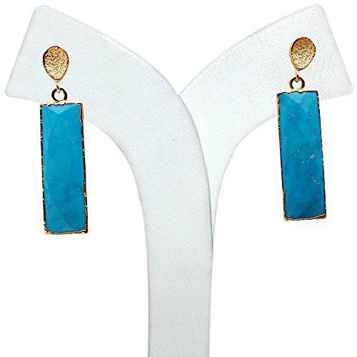 The Sparkle Story Turquoise Rectangle Dangle Gold Earring (DTQER-90243)