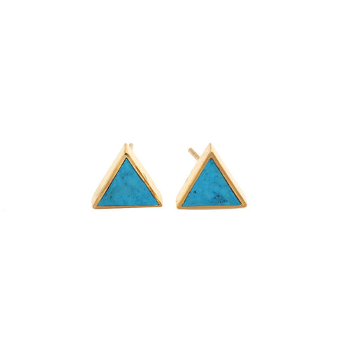 The Sparkle Story Turquoise Gold Plated Triangle Shape Stud & Earring (DTQ-90024)