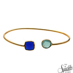 Aqua & Blue Chalcedony Gold Plated Adjustable Alloy Bangle Bracelet for Women and Girls