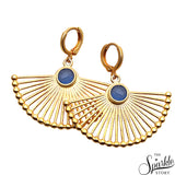 Tanzanite Gold Plated Dangle Alloy Earrings for Women and Girls