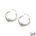 Wire Wrapped Sterling Silver Women's Hoop Earrings 19x18mm