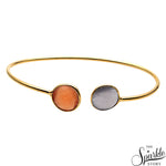 White & Orange Monalisa Gold Plated Adjustable Alloy Bangle Bracelet for Women and Girls