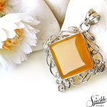 Yellow Chalcedony Sterling 56x40mm Pendant Jewelry