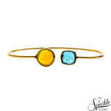 Lemon & Blue Topaz Gold Plated Adjustable Alloy Bangle Bracelet for Women and Girls