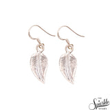 Leaf Shape Sterling Silver 24x11mm Dangle Hook Earring