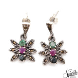 Emerald Ruby & Sapphire Sterling Silver Pendant Earring With Ring Jewelry Set
