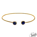 Lapis Gold Plated Adjustable Alloy Bangle Bracelet for Women and Girls