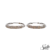 Hinged Vintage Baali Oxidized Sterling Silver Hoop Earrings