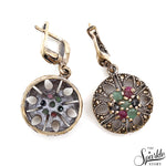 Victorian Style Ruby Emerald & Sapphire Sterling Silver Earring