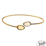 White Opal & Lemon Topaz Adjustable Bangle Bracelet for Women and Girls