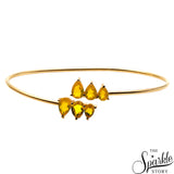 Lemon Topaz Gold Plated Adjustable Alloy Bangle Bracelet for Women and Girls