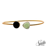 Black Onyx & Green Chalcedony Gold Plated Round & Heart Shape Adjustable Bangle Bracelet for Women and Girls