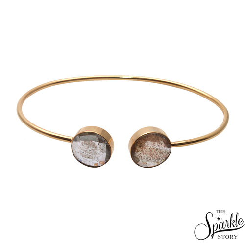 Copper Infused Gold Plated Round Shape Adjustable Bangle Bracelet for Women and Girls