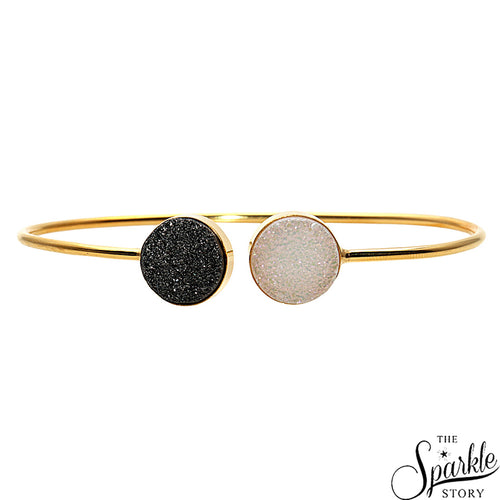 Platinum & White Druzy Gold Plated Round Shape Adjustable Bangle Bracelet for Women and Girls