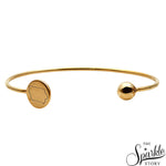 Golden Plated Adjustable Finding Charm Bangle Bracelet for Women and Girls