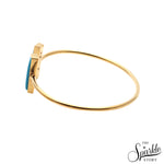 Turquoise Gold Plated Rectangle Shape Adjustable Bangle Bracelet for Women and Girls