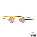 Rainbow Moonstone Gold Plated Hexagon & Trillion Shape Adjustable Bangle Bracelet