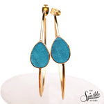 Light Blue Druzy Pears Shape Gold Plated Hoop Earring