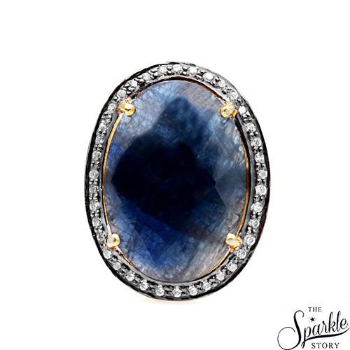 Beautiful Sapphire Cubic Zircon Diamond Ring Gold Plated For Women and Girls