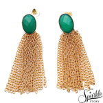 Green Onyx Gold Plated Dangle Stud Thema Waterfall Earring (DGPGO-90029)