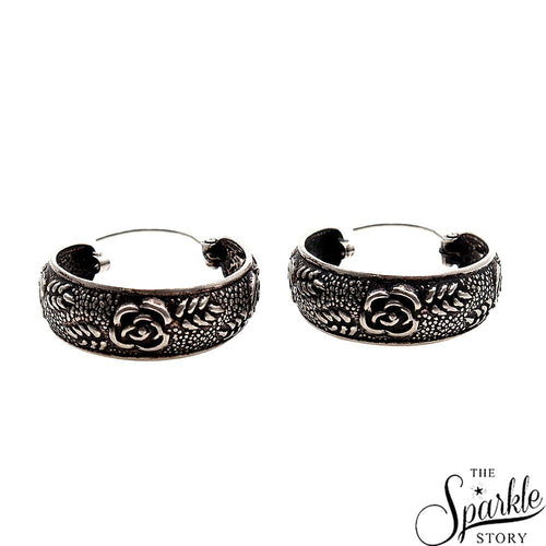Antique Vintage Rose Motif Silver Look Design Oxidised Silver Hoop Earring (DSS-90065)