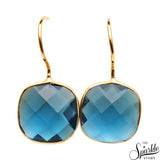 Iolite Gold Plated Cushion Shape Alloy Dangle Earrings