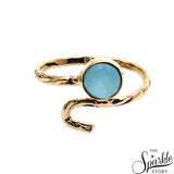Tiny Gemstone Round Shape Gold Plated Adjustable Ring (Pick Stone)