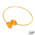 Yellow Chalcedony Gold Plated Round Shape Interlock Alloy Bangle Bracelet