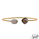Labradorite & Rainbow Gold Plated Cushion & Oval Shape Adjustable Bangle Bracelet for Women and Girls