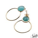 Gemstone Round Gold Plated Hoop Earring (Pick Stone)