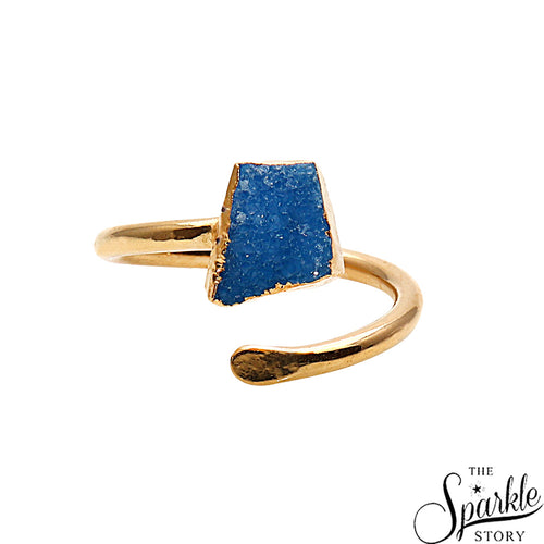 Agate Slice Druzy Gold Plated Free Form Shape Adjustable Ring