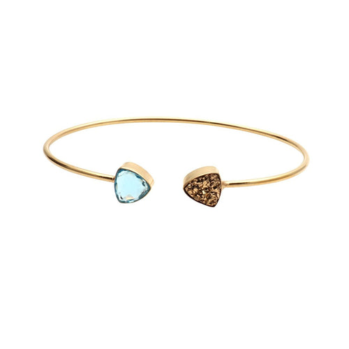 The Sparkle Story Golden Druzy & Blue Topaz Trillion Adjustable Gold Plated Bangle (DDSBA-19009)