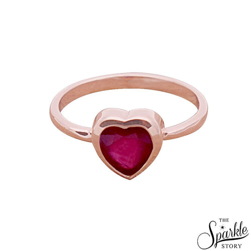 The Sparkle Story Beautiful Ruby 6mm Heart Shape Rose Gold Plated Ring For Women (DCPRB7-12011)