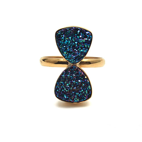 The Sparkle Story Green Druzy Trillion Double Gemstone Druzy Statement Ring (15DZG-12001)