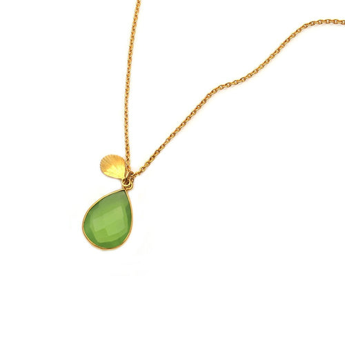 The Sparkle Story Green Chalcedony Pendant 13x20mm Gold Plated With 18' Inch Chain (DGCNC-16003)