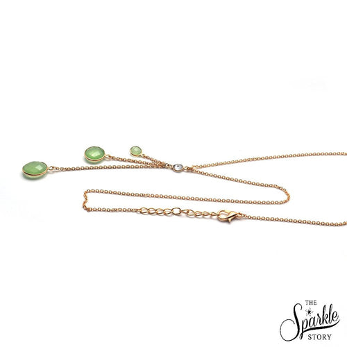 The Sparkle Story Green Chalcedony Bezel Gold Plated Necklace Chain (DNC-16022)