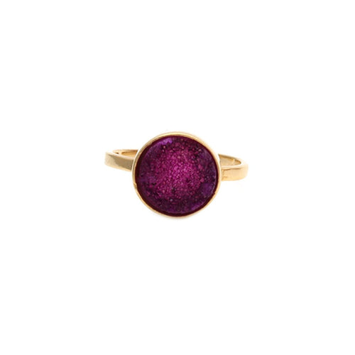 Pink Druzy Round 12mm Gold Plated Adjustable Ring (DZPRG-12009)
